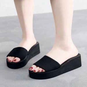 LAST PAIR 8.5-38 Open Toe Wedge Mules Sandal black